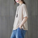 T-shirt Khaki, black Average size [100-150 Jin] Summer 2021 Short sleeve Crew neck easy Regular routine commute cotton 51% (inclusive) - 70% (inclusive) literature Solid color
