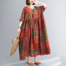 Dress Summer 2021 Blue, orange Average size [100-160 kg] longuette singleton  elbow sleeve commute Crew neck Abstract pattern Socket Big swing pagoda sleeve Others Type H literature 51% (inclusive) - 70% (inclusive) cotton