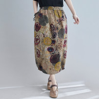 Women's large Spring 2021 Green one, coffee two, khaki three Big size average skirt singleton  commute easy moderate literature cotton Middle-skirt
