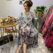 Middle aged and old women's wear Spring 2021 grey Average size (100-150 kg) commute Dress easy Two piece set Animal design Socket moderate V-neck Medium length routine Other / other Embroidery silk 91% (inclusive) - 95% (inclusive) Medium length other ethnic style