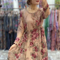 Dress Spring 2021 Brown Average size Mid length dress singleton  Long sleeves commute Crew neck Loose waist Decor Socket other routine Others 40-49 years old Type H Retro Embroidery, stitching, tie dyeing, making old 91% (inclusive) - 95% (inclusive) Crepe de Chine silk