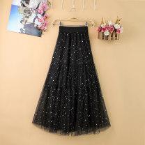 skirt Summer of 2019 Average size Pink apricot black Mid length dress commute High waist A-line skirt Type A Zeyalan Korean version