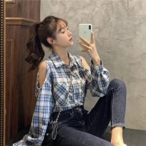 shirt Blue, gray, picture color 1177, khaki 9017, blue 6683, pink 6683 S,M,L Summer 2020 other 96% and above Long sleeves commute Regular Polo collar Single row multi button shirt sleeve lattice 18-24 years old Self cultivation Other / other Korean version weishu202291