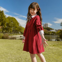 Dress Red [spot quick delivery] female Colorful pocket 120cm 130cm 140cm 150cm 160cm 165cm Other 100% spring and autumn Korean version Long sleeves Solid color Cotton blended fabric A-line skirt GL211566 Class B Spring 2021 Chinese Mainland Zhejiang Province Hangzhou