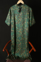 Dress Summer 2021 Green print Average size Mid length dress singleton  Short sleeve commute stand collar Loose waist Big flower Socket A-line skirt routine Others 30-34 years old Type H Retro Print, button LQA068 More than 95% silk