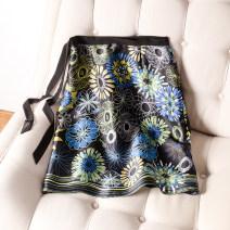 skirt Summer of 2019 L,M,XL,2XL,3XL Black print Middle-skirt commute High waist A-line skirt Big flower Type A 30-34 years old BSQ1906 More than 95% silk Print, stitching, lace up