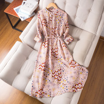 Dress Autumn of 2019 Foundation printing XL,L,M longuette singleton  three quarter sleeve commute Crew neck Loose waist Decor Socket A-line skirt routine Others 30-34 years old Type H Sylvie Ol style Lace up, printed LQ3955 More than 95% silk