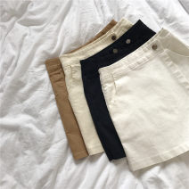 Casual pants White, khaki, apricot, black S,M,L,XL,2XL Summer 2020 shorts Natural waist Versatile Thin money 18-24 years old 96% and above cotton pocket cotton Asymmetry