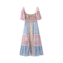 Dress Summer 2020 Color matching S,M,L longuette singleton  Short sleeve Sweet Crew neck 18-24 years old Type A Chiffon Countryside