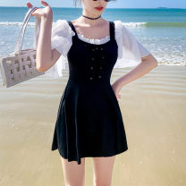 one piece  other S (recommended 80-90 kg), m (recommended 90-100 kg), l (recommended 100-110 kg), XL (recommended 110-120 kg) Black, light blue, pink Skirt one piece With chest pad without steel support Spandex, polyester, others female Short sleeve Casual swimsuit Solid color Lotus leaf edge