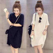 Dress Summer of 2018 White, black, safety Pants White S,M,L,XL,2XL,3XL,4XL,5XL Mid length dress other elbow sleeve commute other Loose waist other other other other Breast wrapping 18-24 years old Type H Other / other Korean version 31% (inclusive) - 50% (inclusive) other other