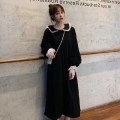 Dress Autumn 2020 black M. L, XL, 2XL, XXS pre-sale Mid length dress singleton  Long sleeves commute Admiral High waist Solid color Single breasted Princess Dress Petal sleeve Others 18-24 years old Type A Korean version Button 81% (inclusive) - 90% (inclusive) other polyester fiber