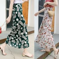 skirt Summer of 2019 Average size 84 green flowers, 85 apricot flowers, dog head T-shirt longuette Versatile Natural waist skirt 18-24 years old 31% (inclusive) - 50% (inclusive) Other / other other