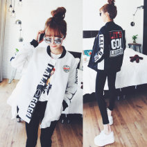 short coat Spring of 2019 XXL,S,M,L,XL White, black, doghead T-shirt Long sleeves routine routine singleton  Straight cylinder commute routine zipper letter 18-24 years old Other / other 51% (inclusive) - 70% (inclusive) Zipper, stitching, printing