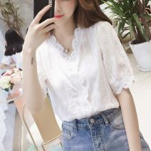 Lace / Chiffon Summer of 2019 white S. M, l, XL, 2XL, XXXs pre-sale elbow sleeve commute Socket singleton  easy V-neck Solid color bishop sleeve 18-24 years old Other / other Lace 71% (inclusive) - 80% (inclusive)