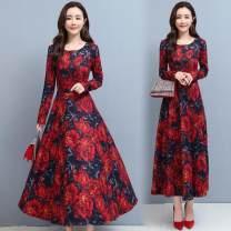 Dress Autumn 2020 Red, green, leggings, white M,L,XL,2XL,3XL longuette singleton  Long sleeves commute V-neck Decor Socket routine Other / other Korean version 81% (inclusive) - 90% (inclusive)