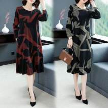 Dress Autumn 2020 Red, gold, leggings, white M,L,XL,2XL,3XL,4XL Mid length dress singleton  Long sleeves commute Crew neck Socket routine Korean version 81% (inclusive) - 90% (inclusive)