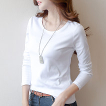 T-shirt White, black, brown pre-sale XXL,XXXL,S,M,L,XL Winter of 2019 Long sleeves Crew neck Self cultivation Regular routine commute polyester fiber 31% (inclusive) - 50% (inclusive) 18-24 years old Korean version youth Solid color Other / other