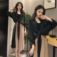 Women's large Spring 2021, summer 2021 Two piece set M [recommended 80-100 Jin], l [recommended 100-120 Jin], XL [120-140 Jin], 2XL [140-160 Jin recommended], 3XL [160-180 Jin recommended], 4XL [180-200 Jin recommended] Dress Two piece set commute easy moderate Socket Long sleeves Solid color V-neck