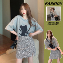 Women's large Summer 2021 T-shirt , Short skirt , Two piece set L [100-120 Jin recommended], XL [120-140 Jin recommended], 2XL [140-160 Jin recommended], 3XL [160-180 Jin recommended], 4XL [180-200 Jin recommended] T-shirt Two piece set commute easy moderate Socket Short sleeve Cartoon animation