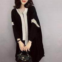 Dress Winter 2020 black S,M,L Mid length dress singleton  Long sleeves street V-neck Loose waist zipper routine Others Type A bobowaltz Europe and America