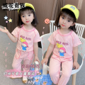suit Weituo nobility Pink three star balloon suit 100cm 110cm 120cm 130cm 140cm female summer leisure time Short sleeve + pants 2 pieces Thin money There are models in the real shooting Socket nothing Cartoon animation cotton 6XZA2_1620388129530 Class B Flax 100% Spring 2021