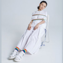 Casual pants M, L Autumn of 2019 Ninth pants Wide leg pants Natural waist original routine 96% and above cotton Three dimensional cutting cotton