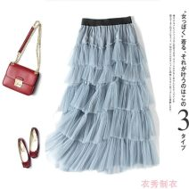skirt Spring 2020 Average size Black, gray, lotus, apricot, light green Mid length dress Versatile High waist Cake skirt Solid color Type A 18-24 years old More than 95% other Other / other polyester fiber