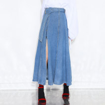 skirt Spring of 2019 S,M,L Mid length dress commute High waist A-line skirt Solid color Type A 18-24 years old 91% (inclusive) - 95% (inclusive) Denim 3IDOLIMITED cotton Bow tie Korean version