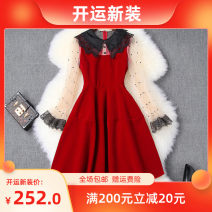 Dress Winter of 2019 Red, black S,M,L,XL Short skirt singleton  Long sleeves Doll Collar High waist other zipper Big swing pagoda sleeve LANYAYI T10492