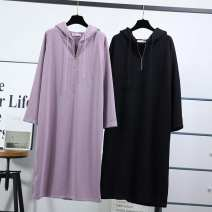 Sweater / sweater Spring of 2019 Light purple, black Average size Long sleeves Medium length Socket singleton  Thin money Hood easy commute raglan sleeve Solid color 18-24 years old 96% and above Korean version cotton Zipper, drawcord cotton Cotton liner