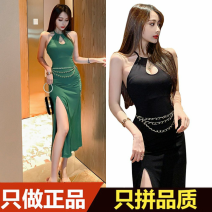 Dress Summer 2020 Green with waist chain, black with waist chain, brick red with waist chain S, M Mid length dress singleton  Sleeveless commute Crew neck High waist Solid color One pace skirt Hanging neck style Type H Korean version backless A3095 51% (inclusive) - 70% (inclusive) polyester fiber