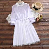Dress Winter 2016 Light blue, purple S,XL,2XL,L,M Middle-skirt Fake two pieces Long sleeves Sweet Polo collar Elastic waist stripe Single breasted A-line skirt Lotus leaf sleeve Other / other Frenulum See description 51% (inclusive) - 70% (inclusive) cotton princess