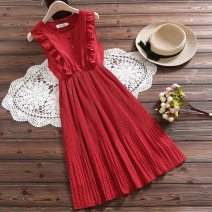Dress Summer of 2019 Red, white XXL,S,M,L,XL Mid length dress singleton  Sleeveless Sweet Crew neck High waist Socket A-line skirt routine Others Under 17 Type A Other / other Chiffon college