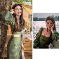 Fashion suit Summer 2021 S,M,L,XL Green top, green split skirt 18-25 years old The story of little silk 71% (inclusive) - 80% (inclusive) polyester fiber