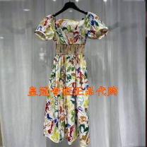 Dress Summer 2021 Decor 2 = s, 3 = m, 4 = L, 5 = XL Mid length dress singleton  Short sleeve commute One word collar High waist Decor Big swing puff sleeve Others Type A Brother amashi Ol style Backless, printing, buying lady's high-end brand 1500363-1A11258-001 More than 95% other cotton