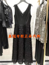 Dress Summer 2020 black 2 = s, 3 = m, 4 = L, 5 = XL longuette singleton  Sleeveless commute V-neck High waist Solid color Socket Big swing routine Others 30-34 years old Type H Brother amashi Ol style Gauze , Splicing , Lace , Design sense of minority, high end, light luxury other other