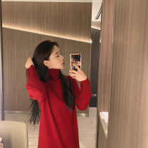 Dress Winter 2020 New year red spot, black spot, milk tea, oats, mocha, shrimp powder XS,S,M Middle-skirt singleton  Long sleeves commute High collar Loose waist Solid color routine 25-29 years old my Little mushroom biu Korean version Cashmere