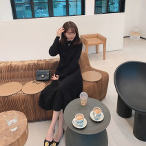 Dress Spring 2021 White moss, black cocoa XS,S,M,L Mid length dress singleton  Long sleeves commute High waist Solid color Socket Big swing routine 25-29 years old my Little mushroom biu Korean version other