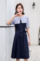 Dress Spring 2021 White, blue M,L,XL longuette singleton  Long sleeves commute Crew neck High waist Solid color Socket A-line skirt routine Type A Elegant and beautiful Frenulum A022 polyester fiber