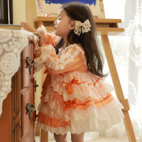 Dress orange female Ziivaxxy / shoot 80cm,90cm,100cm,110cm,120cm,130cm Cotton 100% spring and autumn princess Long sleeves Solid color cotton Cake skirt Class A 12 months, 6 months, 9 months, 18 months, 2 years old, 3 years old, 4 years old, 5 years old Chinese Mainland