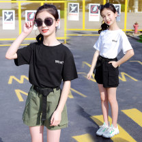 suit Other / other Black [what overalls suit], military green [what overalls suit] 120cm,130cm,140cm,150cm,160cm,170cm female summer Korean version Short sleeve + pants 2 pieces Thin money There are models in the real shooting Socket nothing other cotton children Expression of love What overalls suit