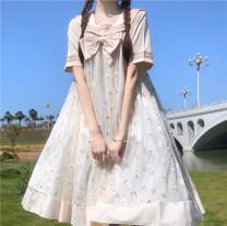 Dress Summer 2021 Apricot, black Average size Miniskirt singleton  Short sleeve Sweet Admiral Loose waist Socket 18-24 years old Type A 9475#