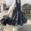 Dress Spring 2020 Blue dress, black dress, white shirt Average size Mid length dress Sleeveless Sweet Others 18-24 years old Type A 81% (inclusive) - 90% (inclusive) other solar system