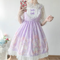 Dress Summer of 2019 Pink jsk, apricot jsk, blue jsk, purple jsk, white undergarment, veil Average size Middle-skirt singleton  Sweet High waist 18-24 years old Type A Other / other solar system