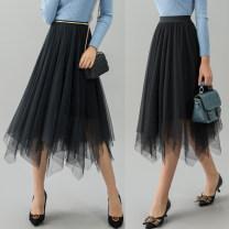 skirt Spring 2020 Middle-skirt Versatile High waist Irregular Type A