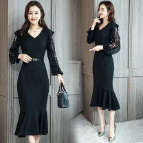 Dress Spring of 2019 Picture color S,M,L,XL,2XL Mid length dress singleton  Long sleeves commute V-neck High waist Solid color zipper Ruffle Skirt routine Others Type A Other / other Korean version Ruffles, lace, stitching, hollowing, lace, zipper 51% (inclusive) - 70% (inclusive) Lace other
