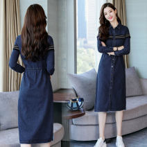 Dress Autumn of 2018 S,M,L,XL,2XL Mid length dress singleton  Long sleeves commute Polo collar High waist Solid color Single breasted A-line skirt routine Others Type A Korean version Pockets, panels, buttons 51% (inclusive) - 70% (inclusive) Denim other