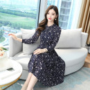 Dress Spring 2021 blue M,L,XL,2XL,3XL,4XL,5XL longuette singleton  Long sleeves commute Crew neck middle-waisted Decor Socket A-line skirt routine Others Type A Korean version 12.2-3 51% (inclusive) - 70% (inclusive) other
