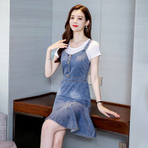Dress Spring 2020 Blue suit, denim piece S,M,L,XL,2XL Mid length dress Two piece set Short sleeve street Crew neck middle-waisted Solid color Socket Ruffle Skirt routine straps Type A Lotus leaf edge 4.11-3 51% (inclusive) - 70% (inclusive) Denim other Europe and America